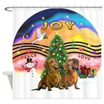 XMusic2-Two brown Dachshunds Shower Curtain