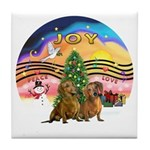 XMusic2-Two brown Dachshunds Tile Coaster