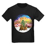 XMusic2-Two brown Dachshunds Kids Dark T-Shirt