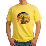 XMusic2-Two brown Dachshunds Yellow T-Shirt