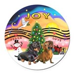 XMusic2-Two Dachshunds Round Car Magnet