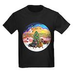 XMusic2-Two Dachshunds Kids Dark T-Shirt