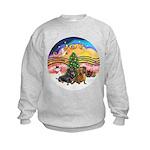 XMusic2-Two Dachshunds Kids Sweatshirt