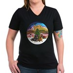 XMusic2-Two Dachshunds Women's V-Neck Dark T-Shirt