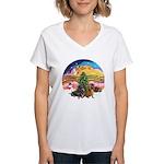 XMusic2-Two Dachshunds Women's V-Neck T-Shirt