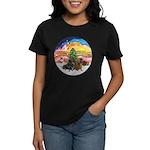 XMusic2-Two Dachshunds Women's Dark T-Shirt