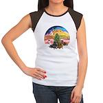 XMusic2-Two Dachshunds Women's Cap Sleeve T-Shirt