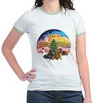 XMusic2-Two Dachshunds Jr. Ringer T-Shirt