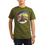 XMusic2-Two Dachshunds Organic Men's T-Shirt (dark