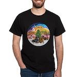 XMusic2-Two Dachshunds Dark T-Shirt