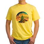 XMusic2-Two Dachshunds Yellow T-Shirt