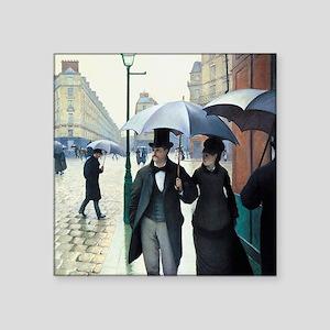 Caillebotte Paris Street Rainy Day Square Sticker