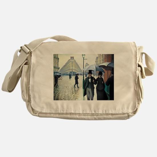 Caillebotte Paris Street Rainy Day Messenger Bag