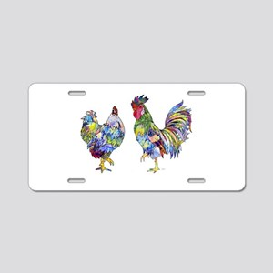Rooster & Hen Aluminum License Plate