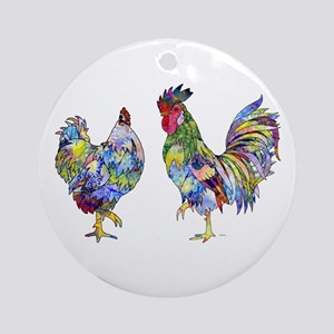 Rooster & Hen Ornament (Round)