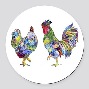 Rooster & Hen Round Car Magnet