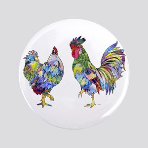 "Rooster & Hen 3.5"" Button"