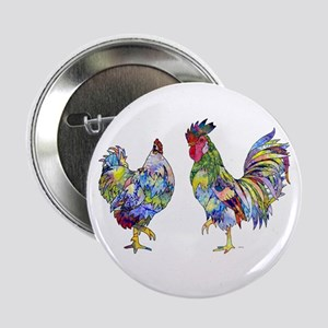 """Rooster & Hen 2.25"""" Button"""