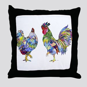 Rooster & Hen Throw Pillow