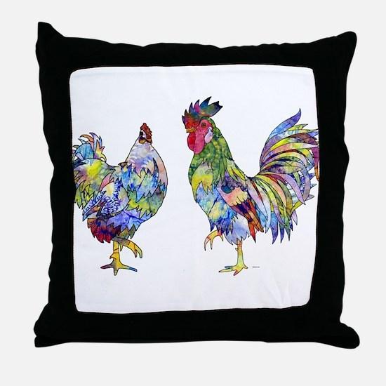 Rooster & Hen Throw Pillow