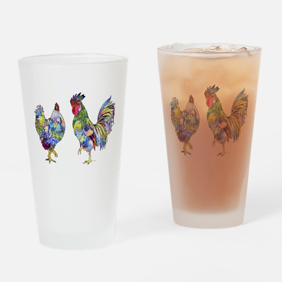 Rooster & Hen Drinking Glass