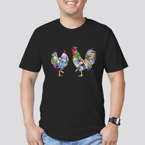 Rooster & Hen Men's Fitted T-Shirt (dark)