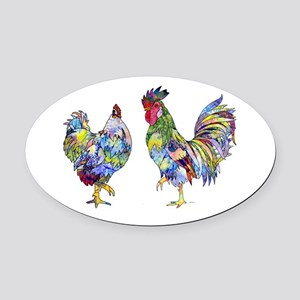 Rooster & Hen Oval Car Magnet