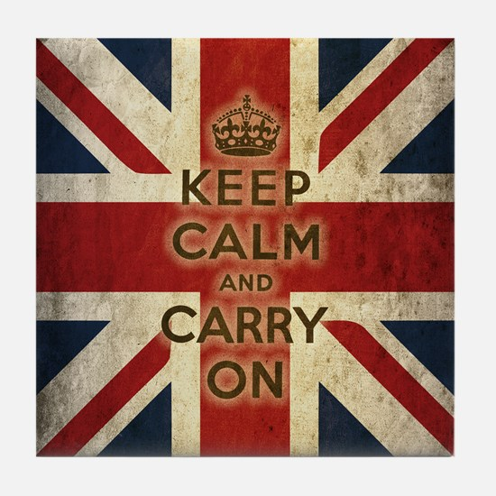 Vintage Keep Calm And Carry On Tile Coaster
