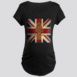 Vintage Keep Calm And Carry On Maternity Dark T-Sh