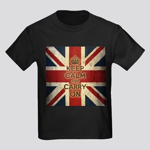 Vintage Keep Calm And Carry On Kids Dark T-Shirt