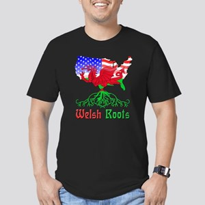 American Welsh Roots Men's Fitted T-Shirt (dark)