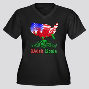 American Welsh Roots Women's Plus Size V-Neck Dark