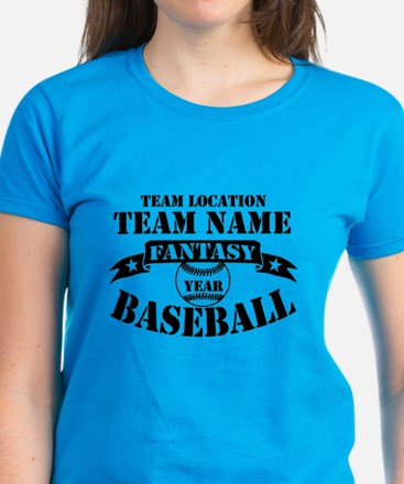 Personalized Fantasy Baseball Women's Dark T-Shirt