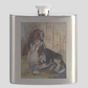 Vintage Basset Hound Flask