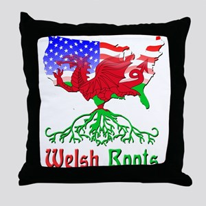 American Welsh Roots Throw Pillow