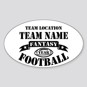 Your Team Fantasy Football Black Sticker (Oval)