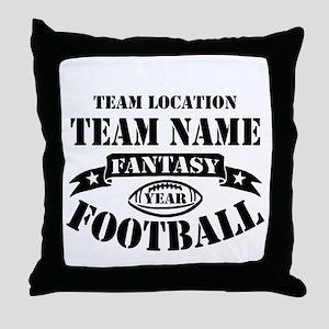Your Team Fantasy Football Black Throw Pillow