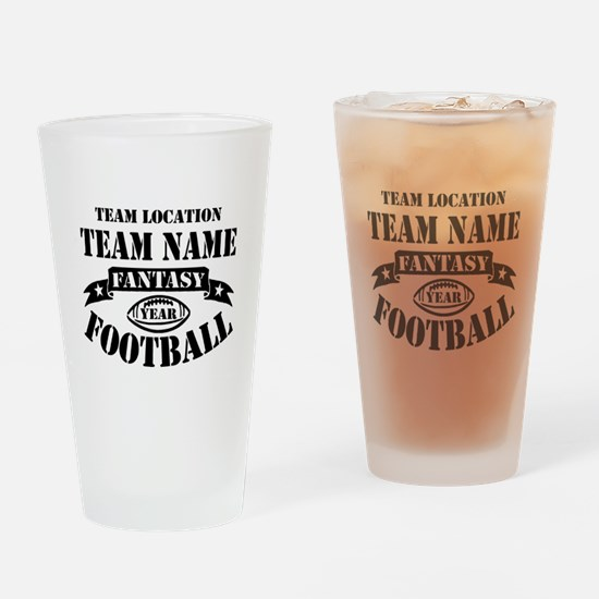 Your Team Fantasy Football Black Drinking Glass