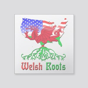 "American Welsh Roots Square Sticker 3"" x 3&qu"