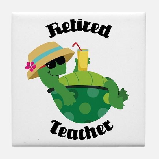 Retired Teacher Turtle Tile Coaster