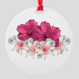 Hibiscus Arrangement Round Ornament