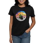 XMusic2-Black Cocker Women's Dark T-Shirt