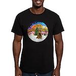 XMusic2-Brown Cocker Men's Fitted T-Shirt (dark)