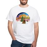 XMusic2-Brown Cocker White T-Shirt