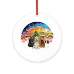 XMusic2-Three Cocker Spaniels Ornament (Round)