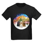 XMusic2-Three Cocker Spaniels Kids Dark T-Shirt