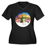 XMusic2-Havanese Women's Plus Size V-Neck Dark T-S