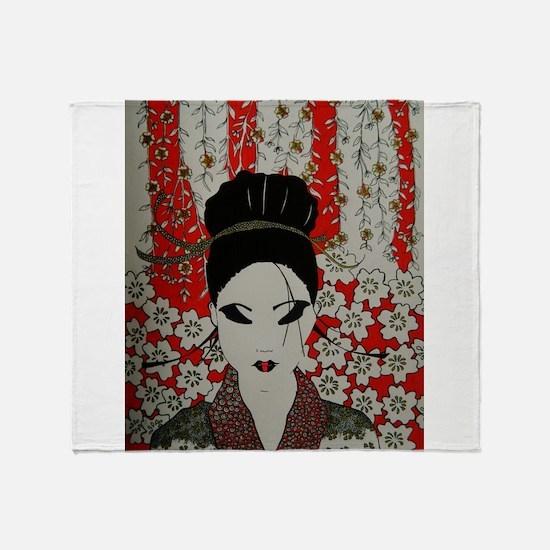 oriental red Throw Blanket