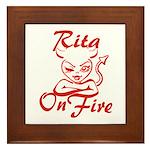 Rita On Fire Framed Tile