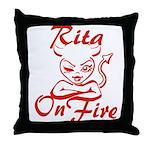 Rita On Fire Throw Pillow